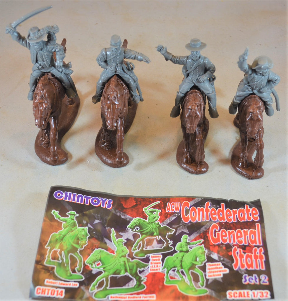 Chintoys Civil War Confederate Generals on Horseback Set 2 Gray