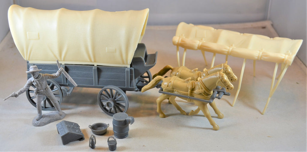 Classic Toy Soldiers Conestoga Wagon with Two (2) Horses
