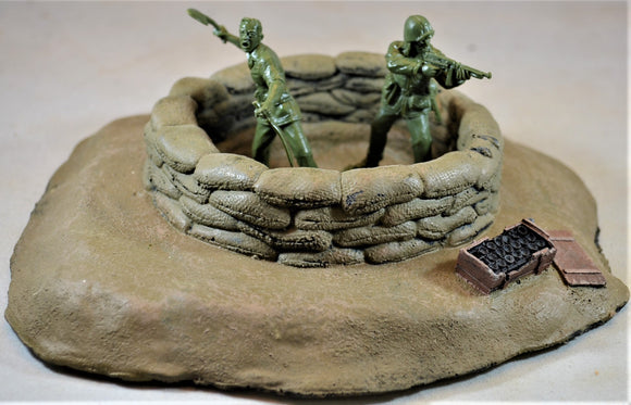 Hand Painted WWII D-Day Mortar Pit Bunker Defensive Position