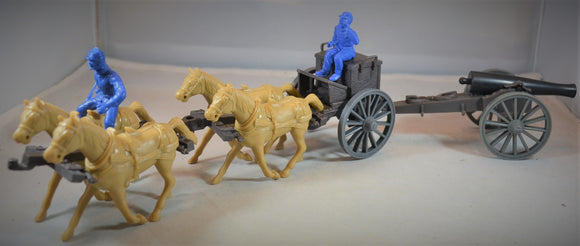 Classic Toy Soldiers Civil War Limber and 12 Pound Cannon with 4 Horses
