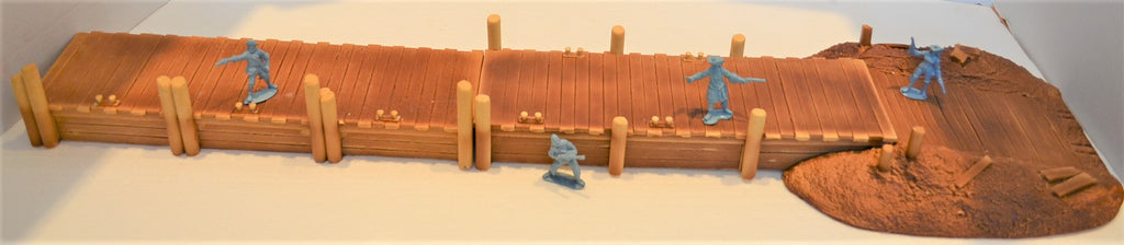 Unpainted Dock Pier Pirate Ship Boat 3 Piece Diorama