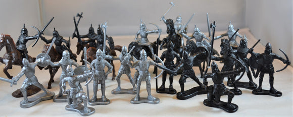 Medieval Knights Silver and Black Set