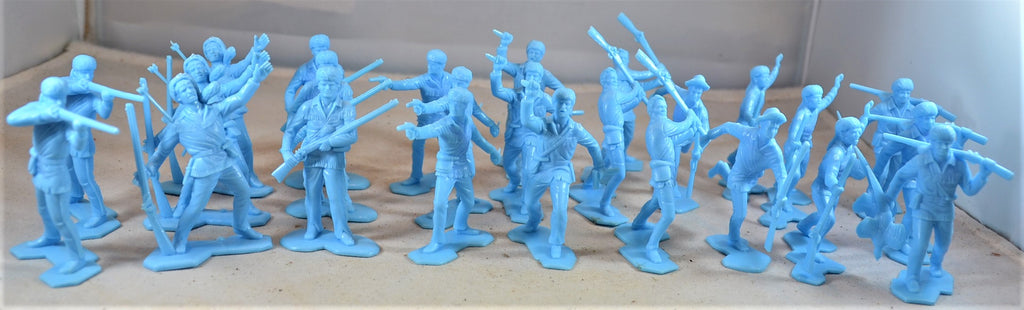 Marx Boonesboro Pioneers Settlers Toy Soldiers Light Blue Frontiersmen
