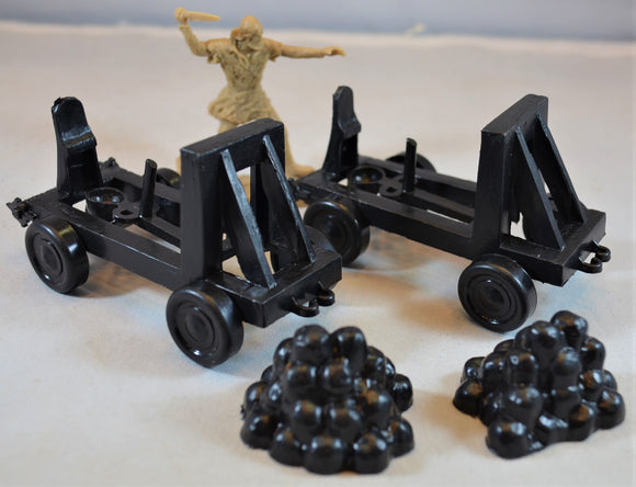 Marx Medieval Catapults with Rock Piles