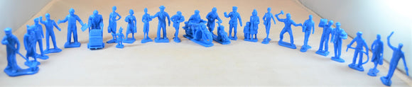 Marx Civilian Office Figures Blue Plastic