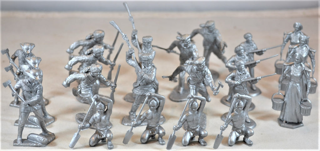 Marx Boonesboro Pioneers Settlers in Action Ft. Apache Figures Silver
