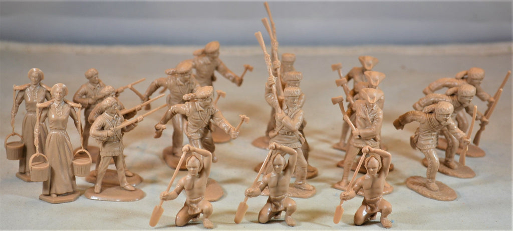 Marx Boonesboro Pioneers Settlers in Action Ft. Apache Figures Tan