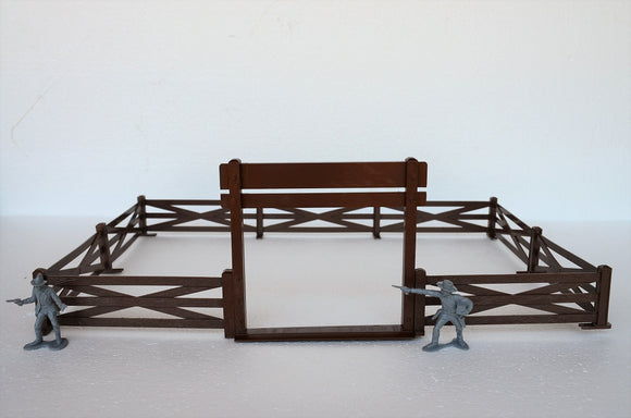 Marx Western Ranch Fence and Gate Brown Plastic