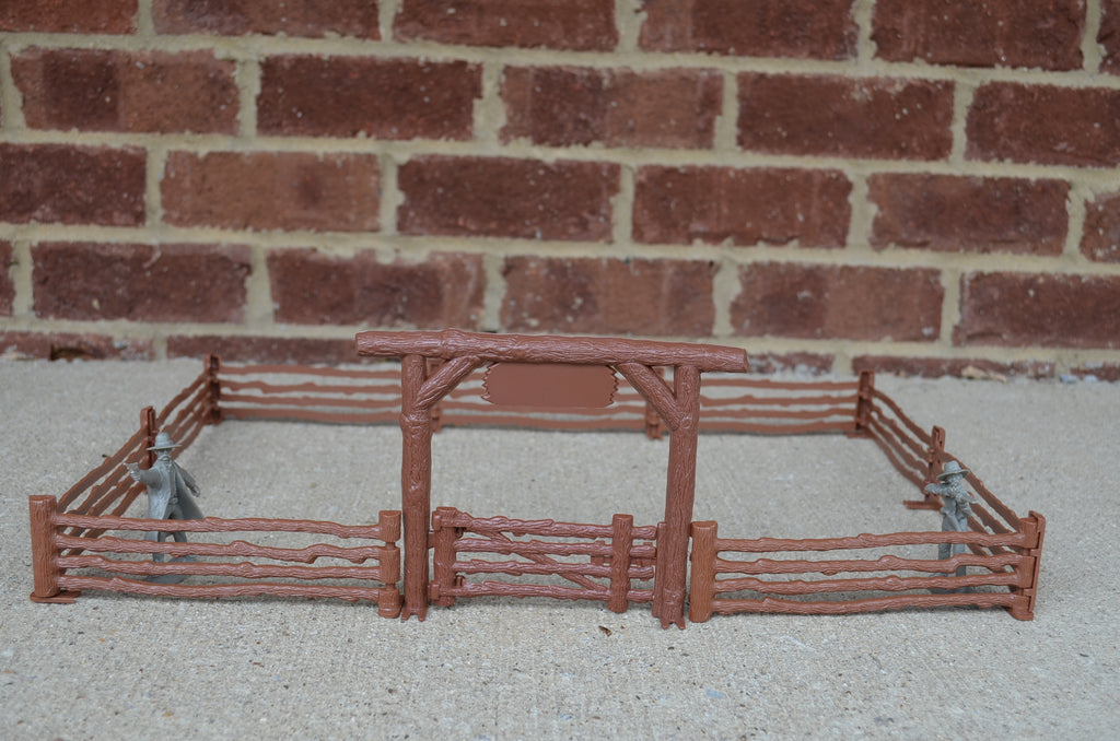 Marx Western Fence Arch Gate Farm Ranch Brown Plastic
