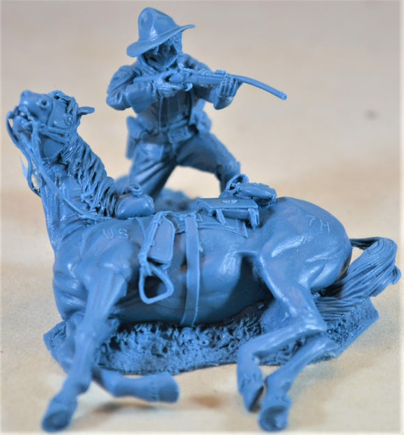 Plastic Platoon Battle of Little Big Horn 7th Cavalry Single Figure with Wounded Horse