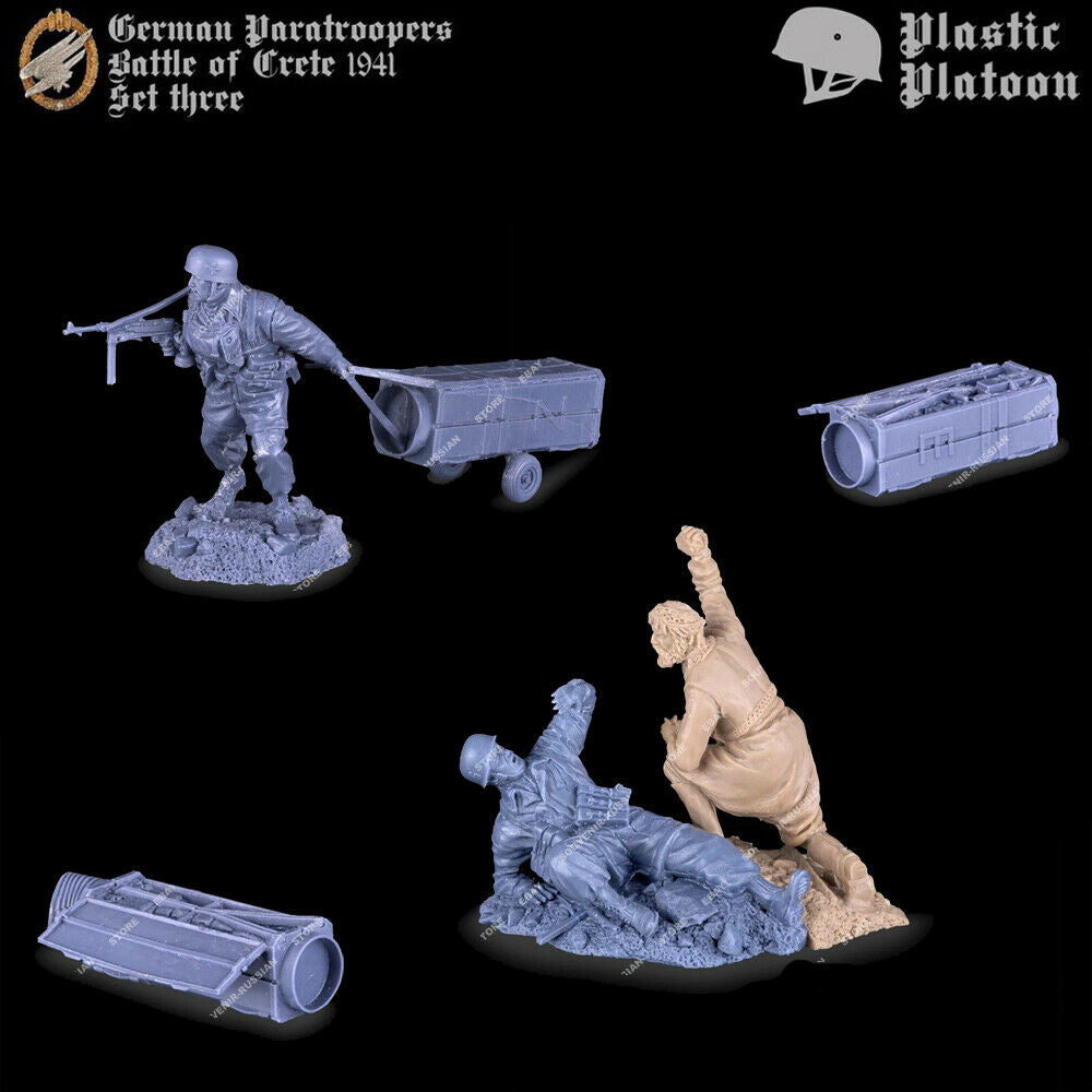 Plastic Platoon WWII German Paratroopers Cretan Militia Battle of Crete 1941 Set 3