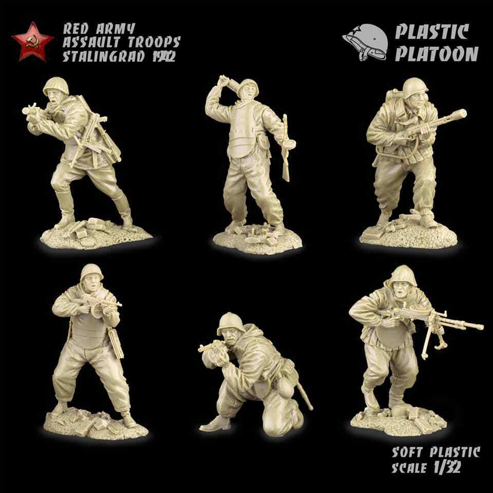 Plastic Platoon WWII Russian Red Army Assault Troops Infantry Stalingrad 1942
