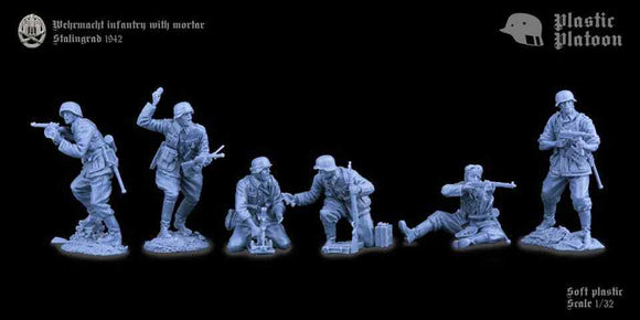 Plastic Platoon WWII German Wehrmacht Infantry with Mortar Stalingrad 1942