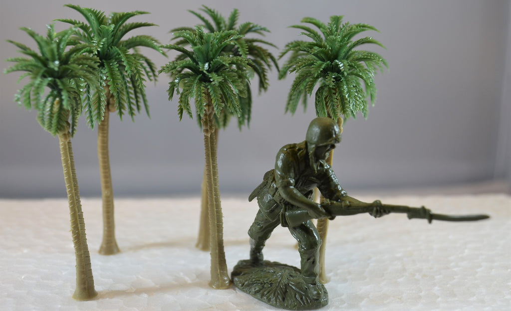 Plastic Small Palm Trees for Dioramas and Battle Scenes Set of 6