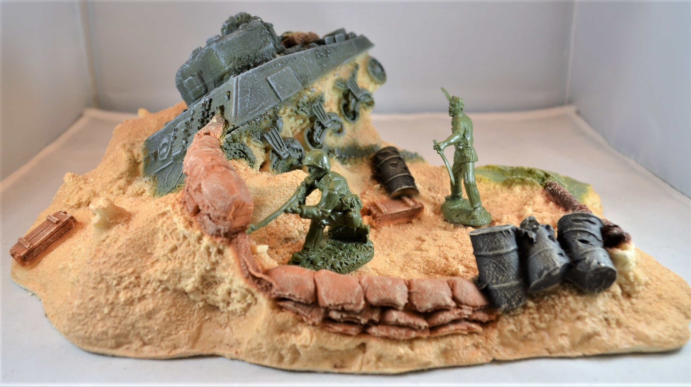 TSSD Destroyed WWII Sherman Tank Defensive Position Painted TSSD-DS