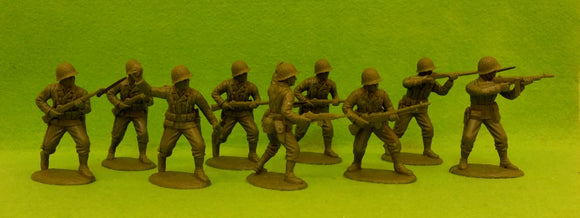 Expeditionary Force World War II US Rifles Assault Section Set 1 with Netted Helmets
