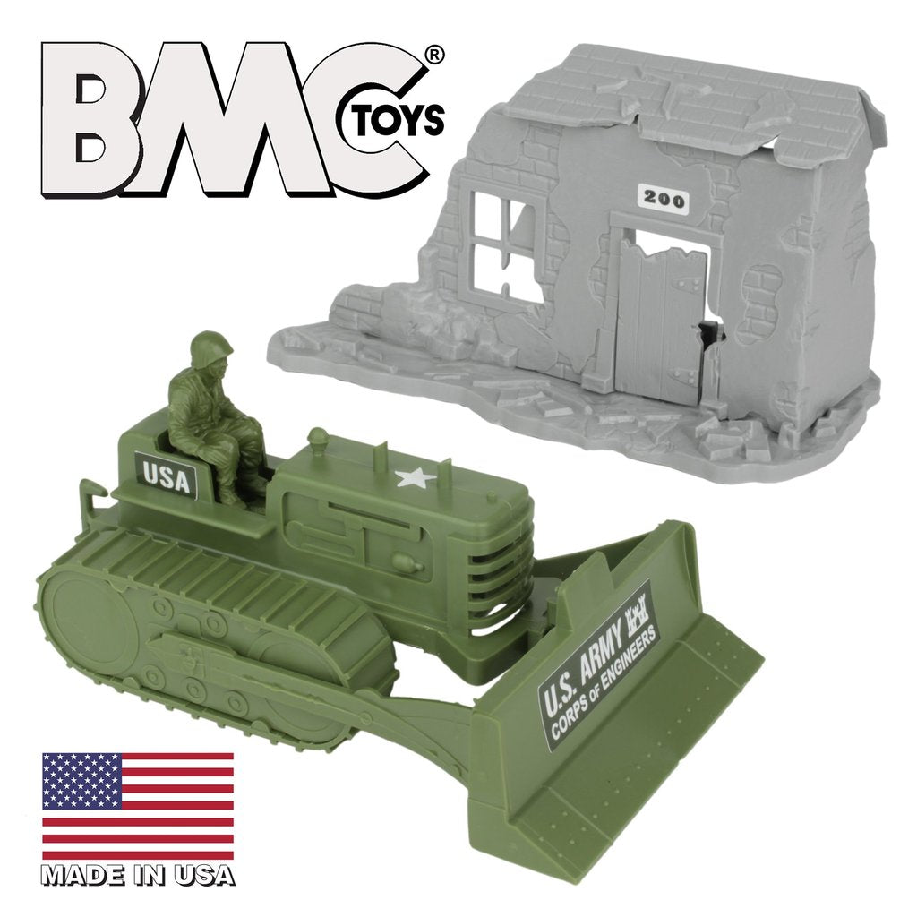BMC Classic MARX WWII Bulldozer and Battle Damaged Building