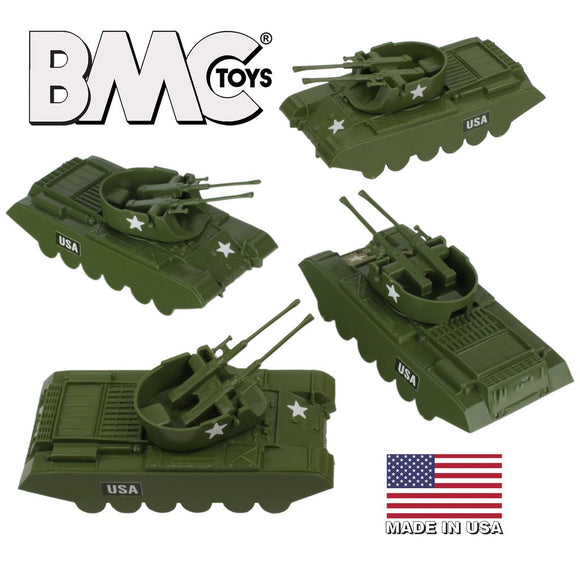 BMC Classic Payton Anti-Aircraft Tanks 4 Piece Set Olive Drab