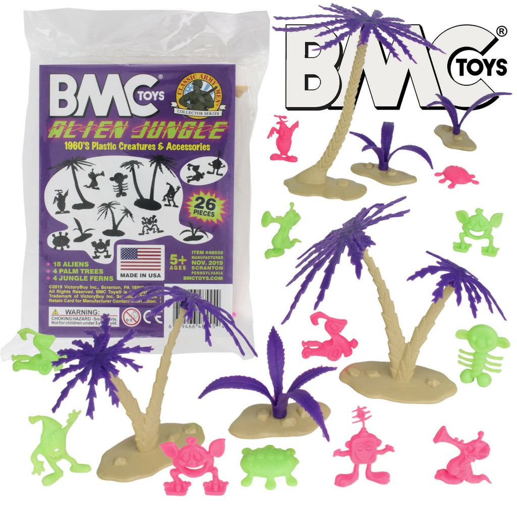 BMC Alien Jungle Martian Creatures Palm Trees Bushes Set