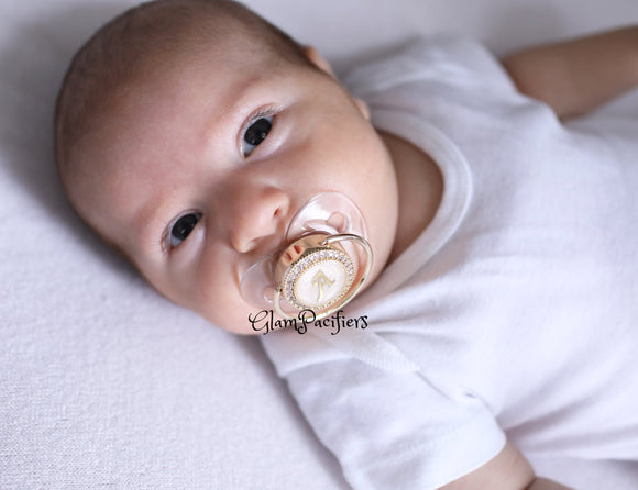 Initial Gold Glam Pacifier