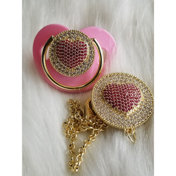 heart bling pacifier