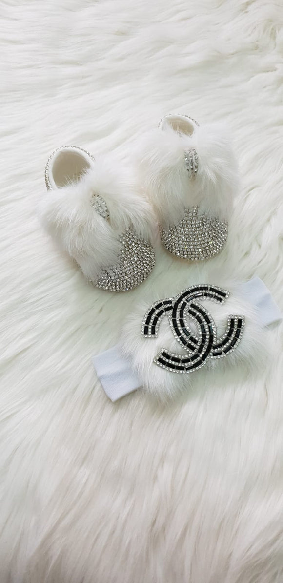 Fashionista Fur Baby girl  Shoes and HeadBand Set