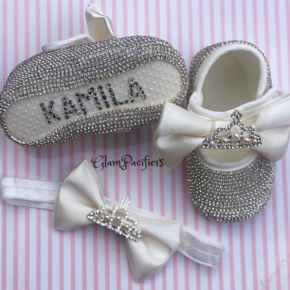 Personalized Crown Charm Baby Girl Gift Set