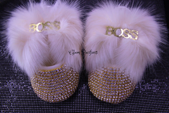 Mini Boss Fur Baby girl  Shoes and HeadBand Set