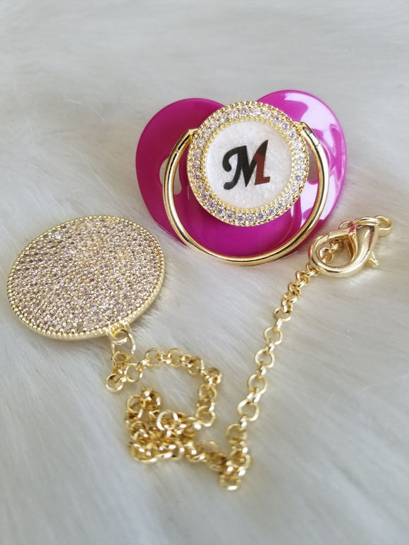 Hot Pink Pearl Gold Initial Pacifier