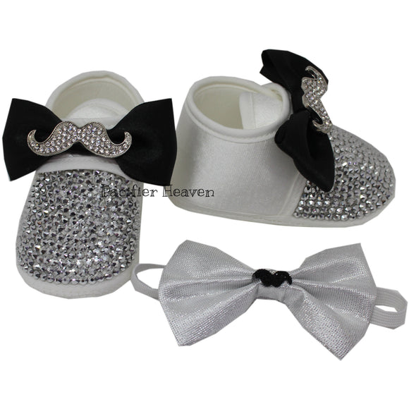 Little Gentelmen's Mustache Shoes with Matching Bow Tie