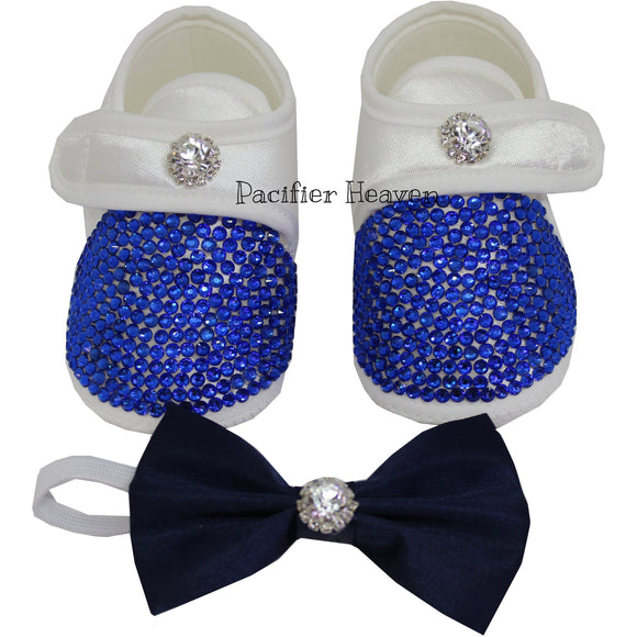 Little Gentelmen's Royal Blue Shoes with Matching Bow Tie
