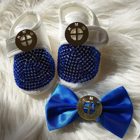 Luxury Car Logo Baby Boys Shoes and Bow Tie Set