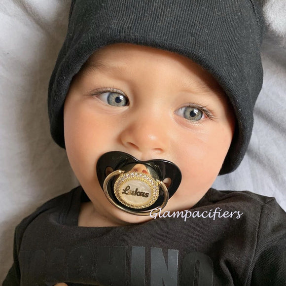 Personalized Black&Gold Baby Name Glam Pacifier