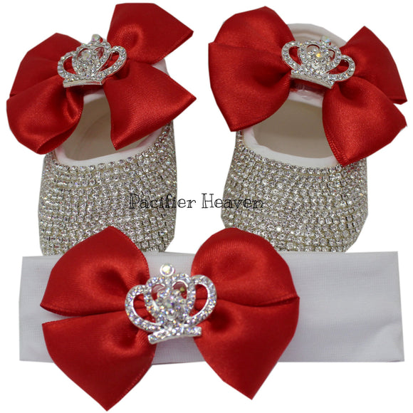 Red Baby Shoes with Crown Charm