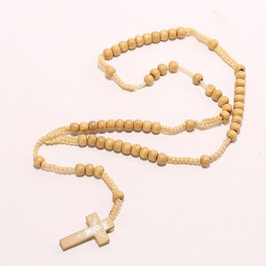 Wooden 8mm Rosary Bead Cross Pendant