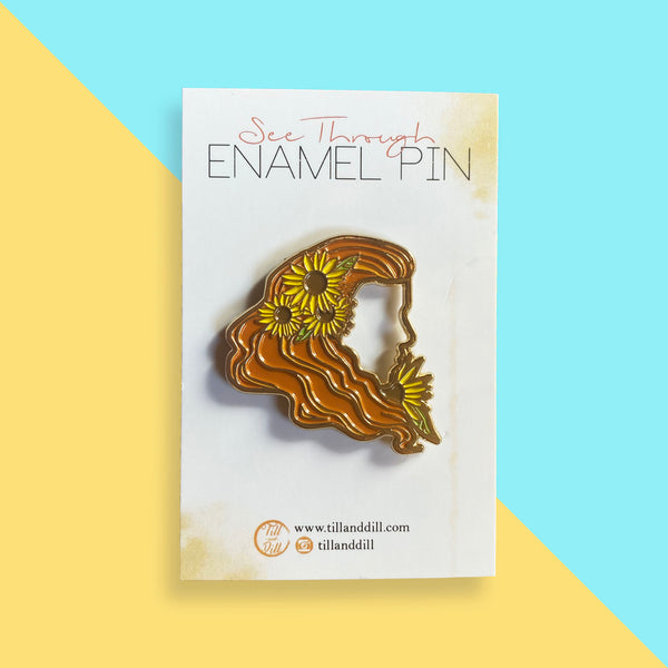 See Through Sunflower Soft Enamel Pin - Orange hair