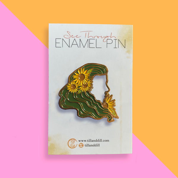 See Through Sunflower Soft Enamel Pin - Green hair