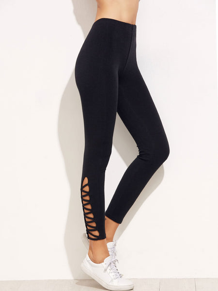 Lattice Hem High Waist Leggings - Luma Lyfe