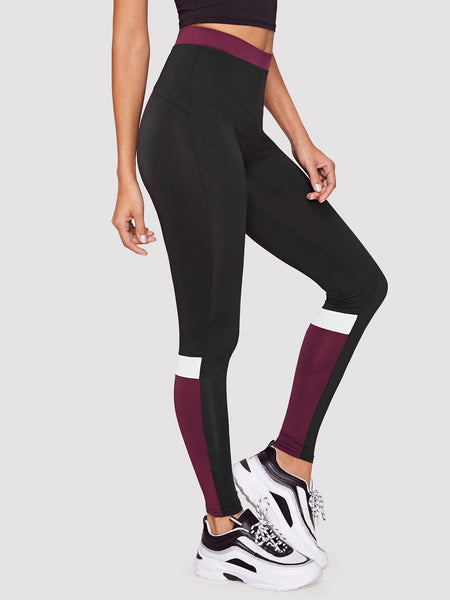 Contrast Waistband Color-block Leggings - Luma Lyfe