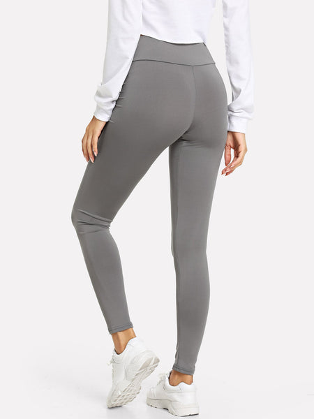 Wide Waistband Solid Leggings - Luma Lyfe