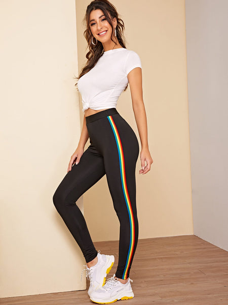 Rainbow Striped Tape Side Leggings - Luma Lyfe