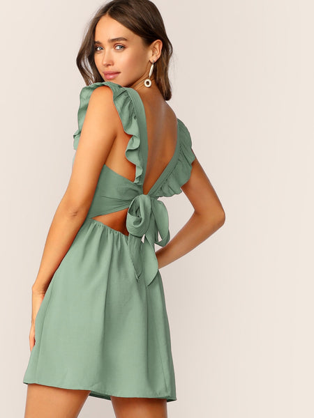 Tie Back Ruffle Strap Skater Dress - Luma Lyfe