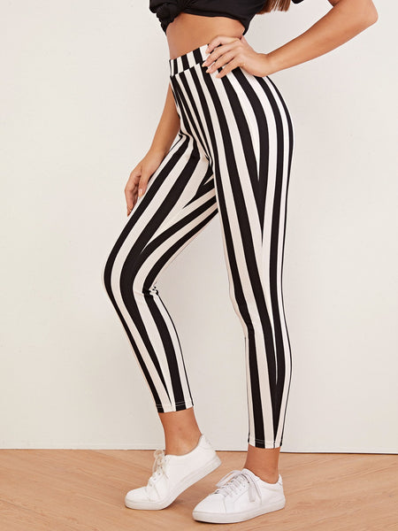 High Waist Striped Leggings - Luma Lyfe