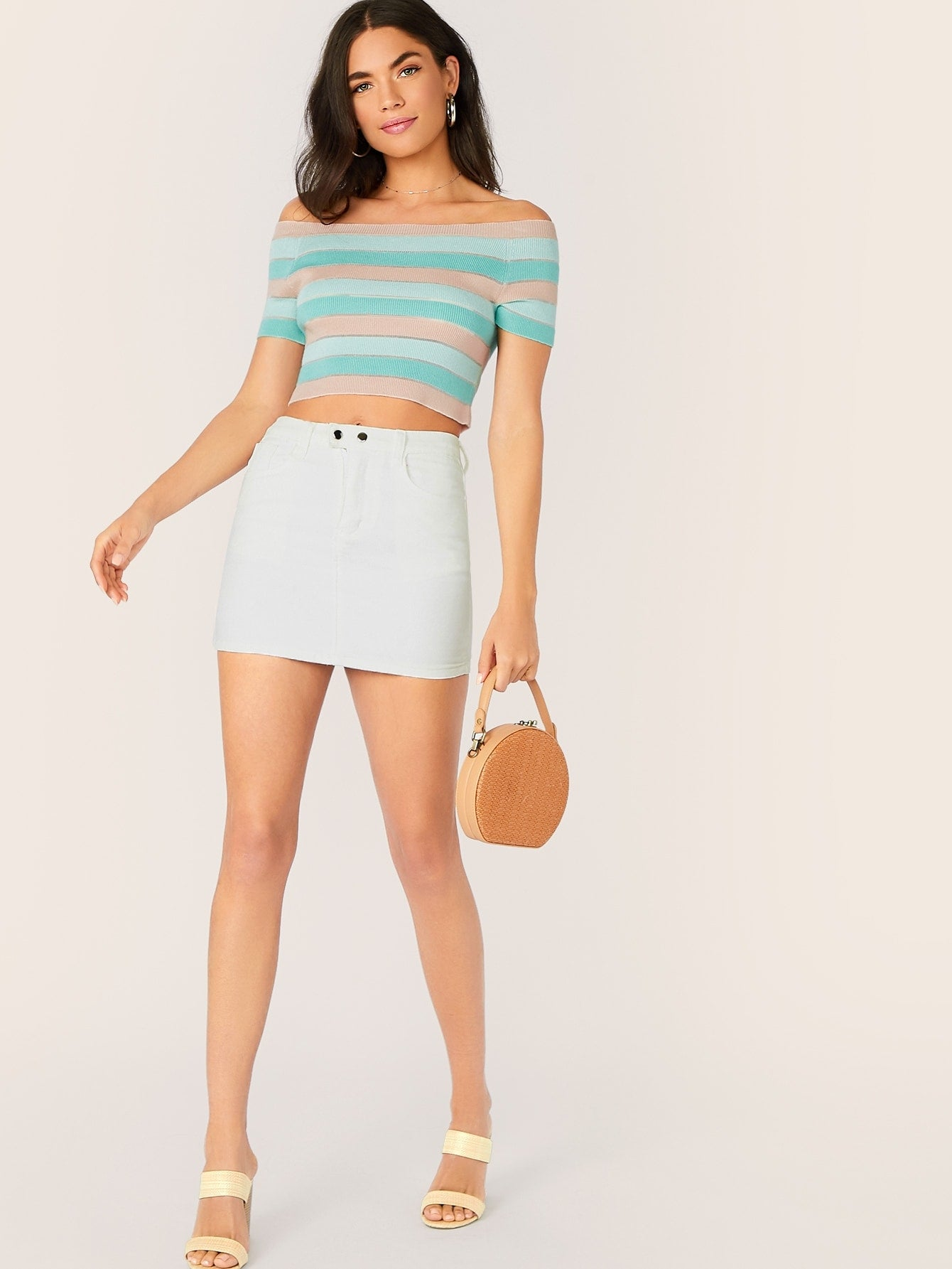 Off Shoulder Short Sleeve Knitted Stripe Crop Top