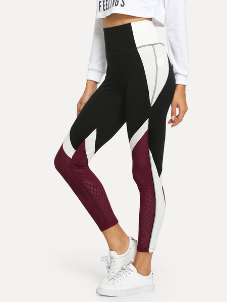 Mesh Panel Color Block Leggings - Luma Lyfe