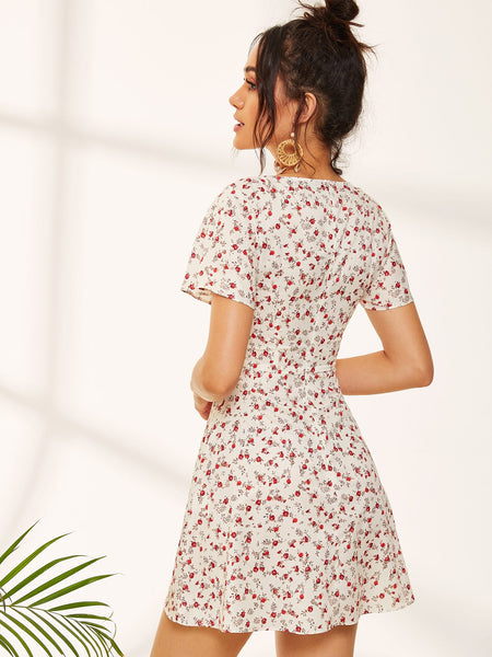 Ditsy Floral Square Neck Sundress - Luma Lyfe