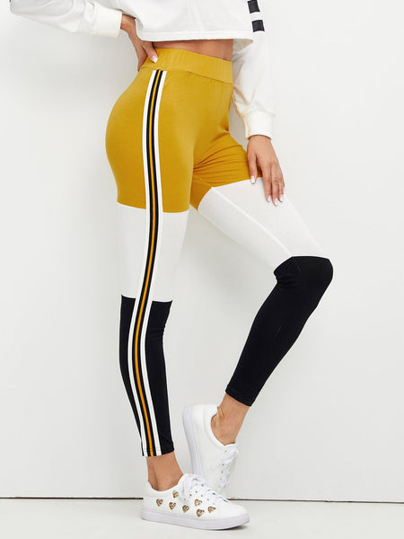 Wide Waistband Color Block Leggings - Luma Lyfe