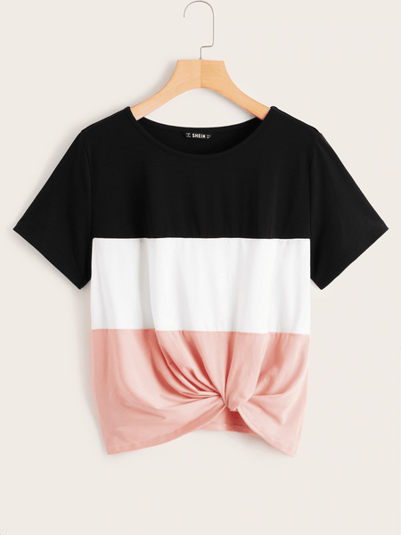 Colorblock Twist Hem Top - Luma Lyfe