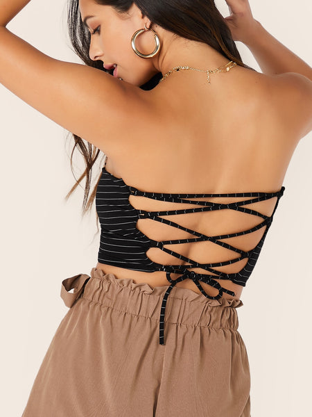 Stripe Tube Top with Lace Up Back - Luma Lyfe