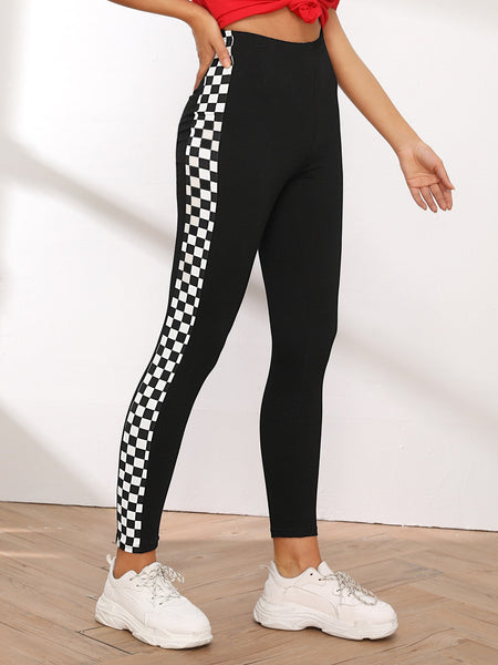 Checker Print Contrast Skinny Leggings - Luma Lyfe
